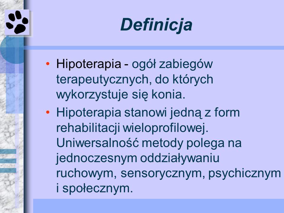 Definicja Hipoterapia - ogół zabiegów terapeutycznych, do których wykorzystuje się konia. Hipoterapia stanowi jedną z form rehabilitacji wieloprofilow