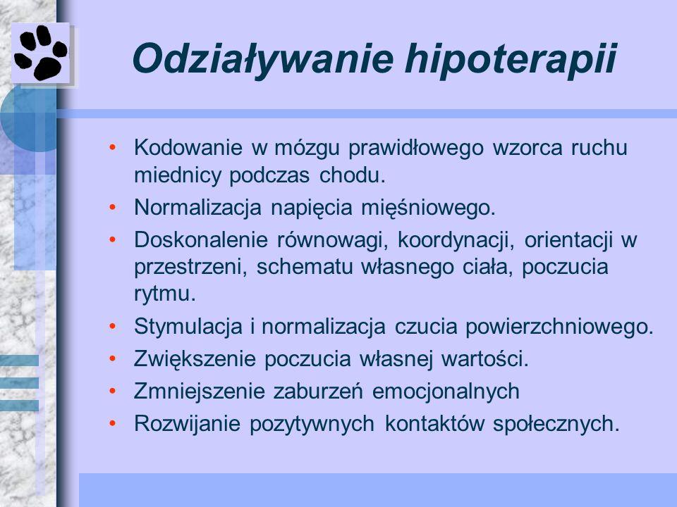 Odziaływanie hipoterapii Kodowanie w mózgu prawidłowego wzorca ruchu miednicy podczas chodu. Normalizacja napięcia mięśniowego. Doskonalenie równowagi
