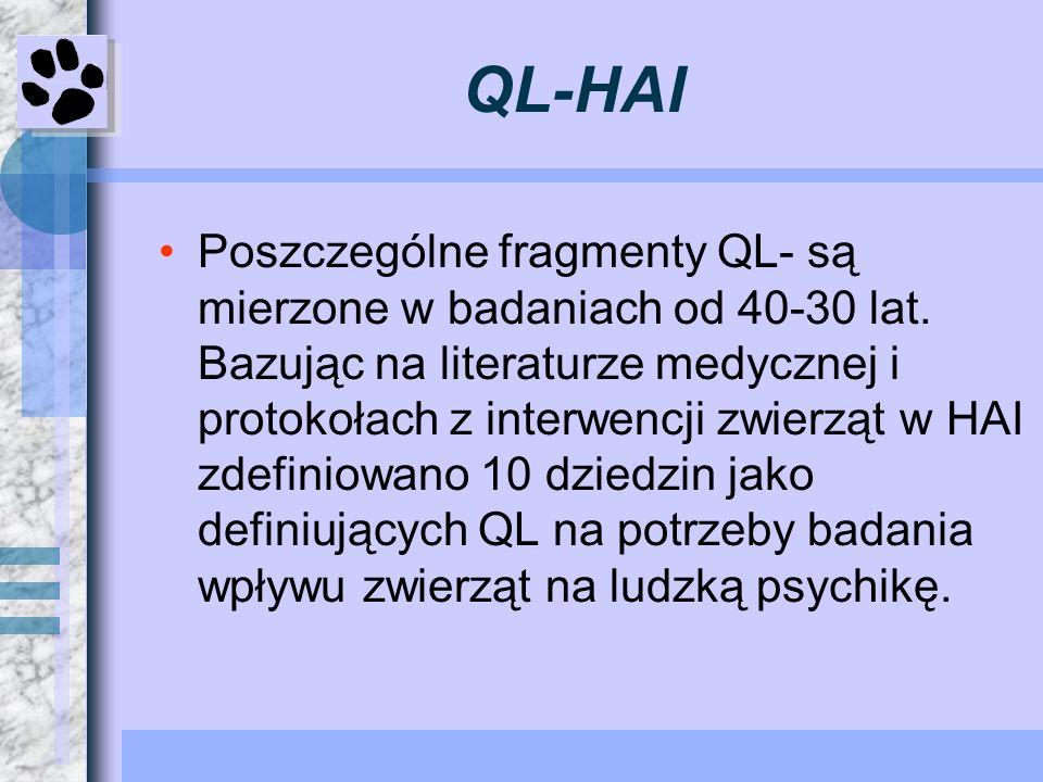 QL-HAI Poszczególne fragmenty QL- są mierzone w badaniach od 40-30 lat. Bazując na literaturze medycznej i protokołach z interwencji zwierząt w HAI zd