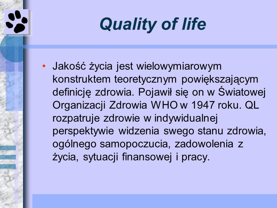 10 dziedzin określających QL.stan fizyczny (ewentualnie symptomy choroby).status funkcjonalny.aktywność w roli życiowej.aktywność społeczna.status emocjonalny.status poznawczy – wykształcenie.sen oraz odpoczynek.energia i witalność.postrzeganie swego zdrowia.generalna satysfakcja z życia