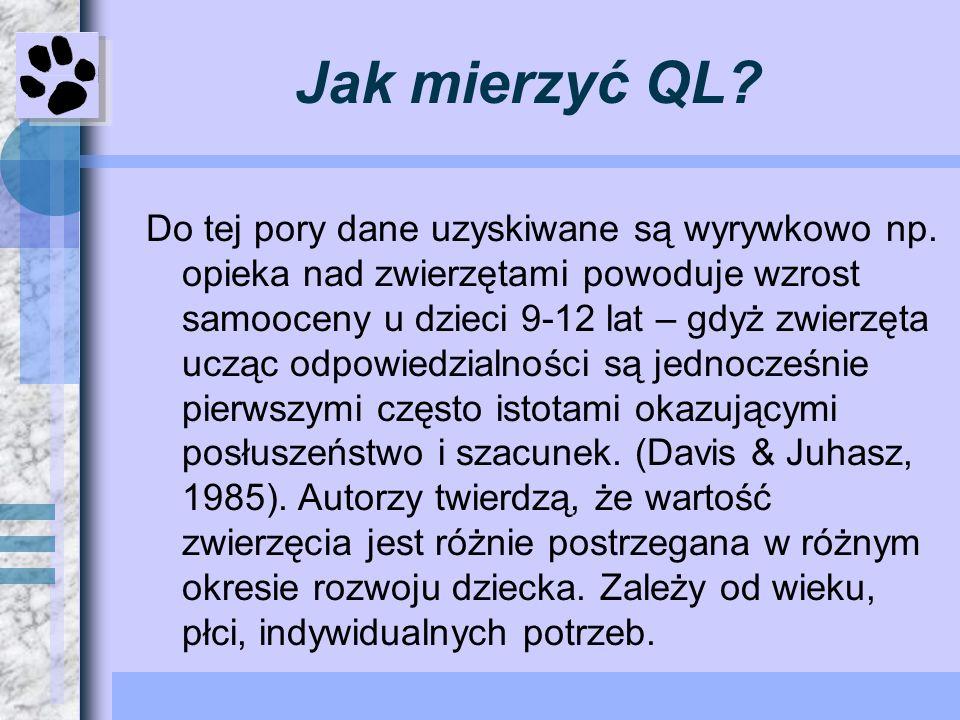 Praca nad pytaniami do kwestionariusza W badaniu QL mamy dwa rodzaje kwestionariuszy OpenQuestions i ClosedQuestions o ile te pierwsze są lepsze dla odpowiadającego, to trudniej je kategoryzować i analizować Dane oceny QL z jednej strony należą do badań podłużnych z drugiej QL to wyniki różnych grup badanych.