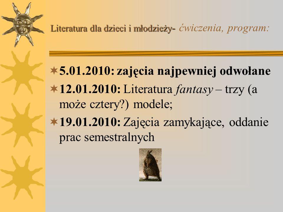 Literatura dla dzieci i młodzieży - Literatura dla dzieci i młodzieży - ćwiczenia, program: 17.11.2009: Książki kultowe. Dlaczego dorośli czytają niek