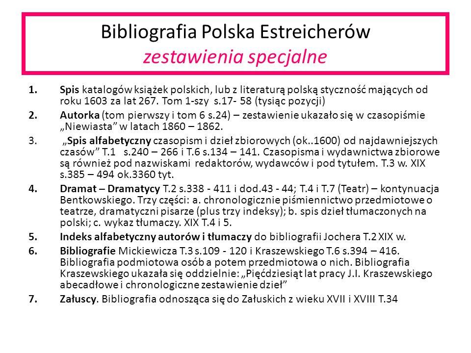 Bibliografia Polska Estreicherów zestawienia specjalne 1.Spis katalogów książek polskich, lub z literaturą polską styczność mających od roku 1603 za lat 267.