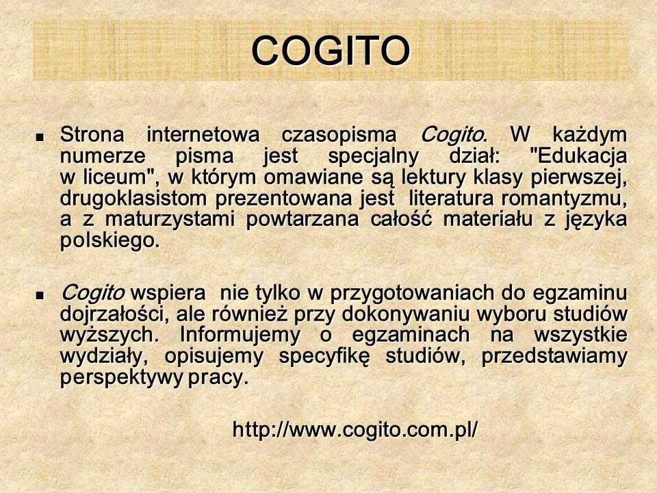 COGITO Strona internetowa czasopisma Cogito. W każdym numerze pisma jest specjalny dział: