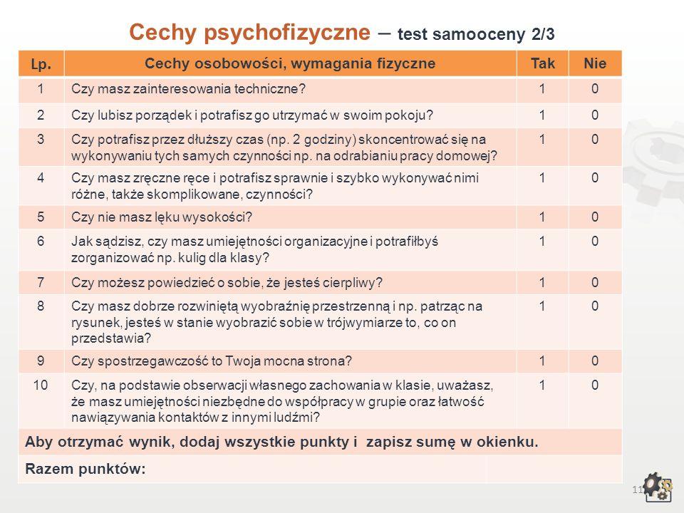 10 Cechy psychofizyczne Test samooceny 1/3 Decydując się na podjęcie pracy w zawodzie technika budownictwa wodnego, powinniśmy przede wszystkim wziąć