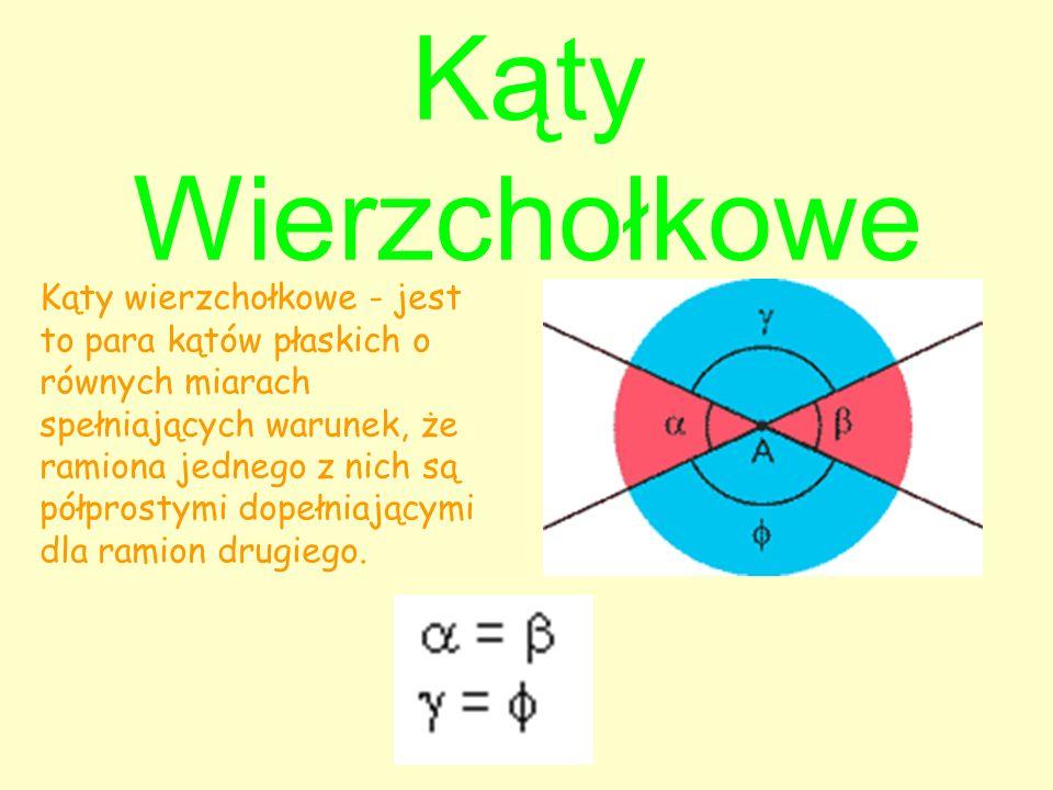 Kąty Wierzchołkowe Kąty wierzchołkowe - jest to para kątów płaskich o równych miarach spełniających warunek, że ramiona jednego z nich są półprostymi