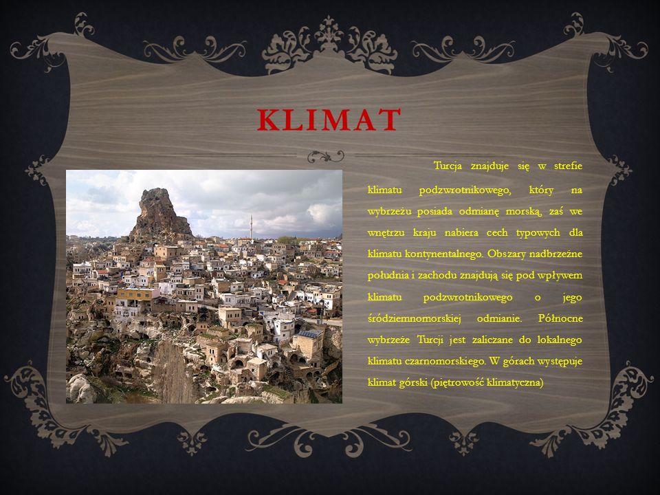KLIMAT Turcja znajduje się w strefie klimatu podzwrotnikowego, który na wybrzeżu posiada odmianę morską, zaś we wnętrzu kraju nabiera cech typowych dla klimatu kontynentalnego.