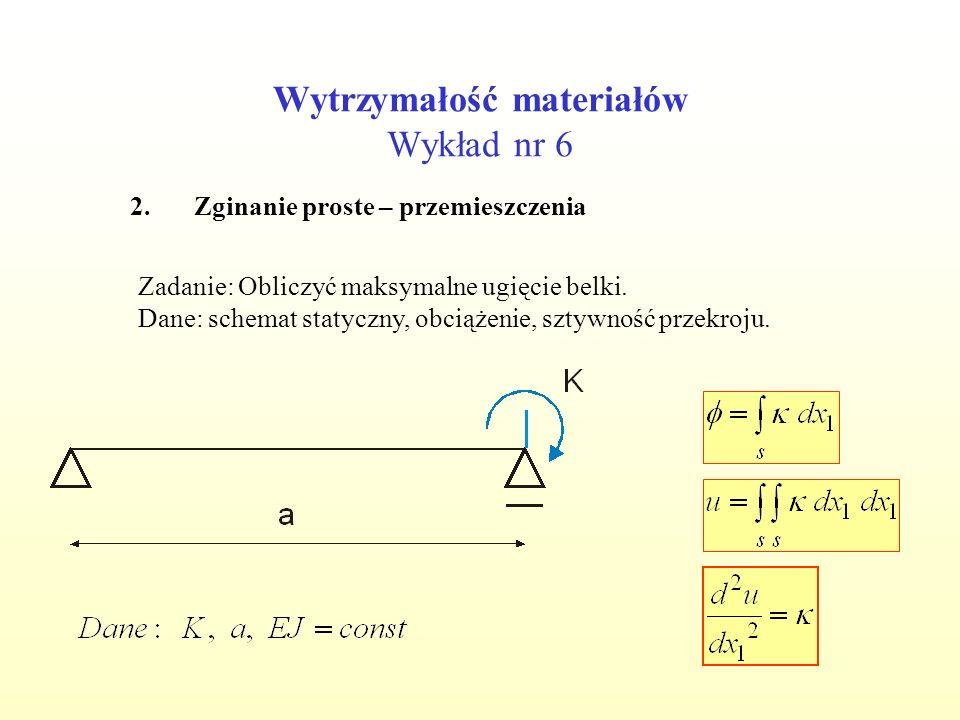 Wytrzymałość materiałów Wykład nr 6 2.Zginanie proste – przemieszczenia Zadanie: Obliczyć maksymalne ugięcie belki. Dane: schemat statyczny, obciążeni