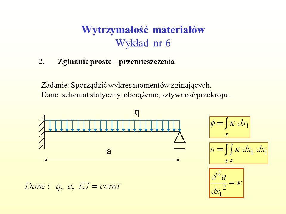 Wytrzymałość materiałów Wykład nr 6 2.Zginanie proste – przemieszczenia Zadanie: Sporządzić wykres momentów zginających.