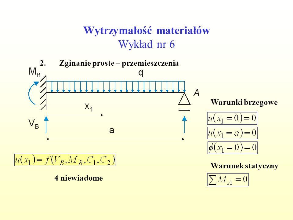 Wytrzymałość materiałów Wykład nr 6 2.Zginanie proste – przemieszczenia Warunki brzegowe Warunek statyczny 4 niewiadome