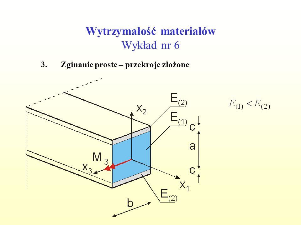 Wytrzymałość materiałów Wykład nr 6 3.Zginanie proste – przekroje złożone