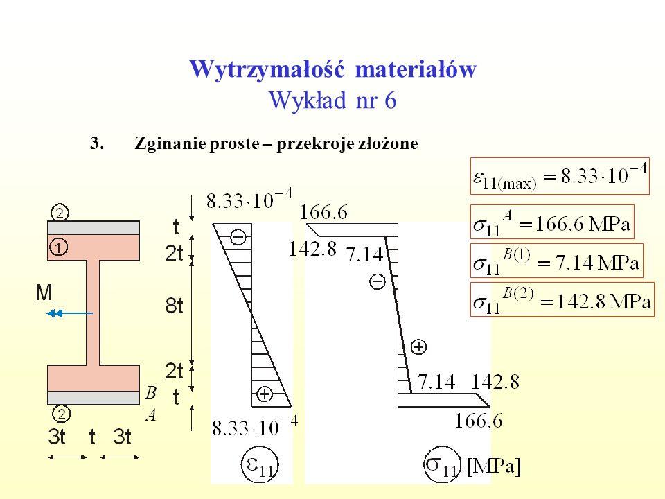 Wytrzymałość materiałów Wykład nr 6 3.Zginanie proste – przekroje złożone A B