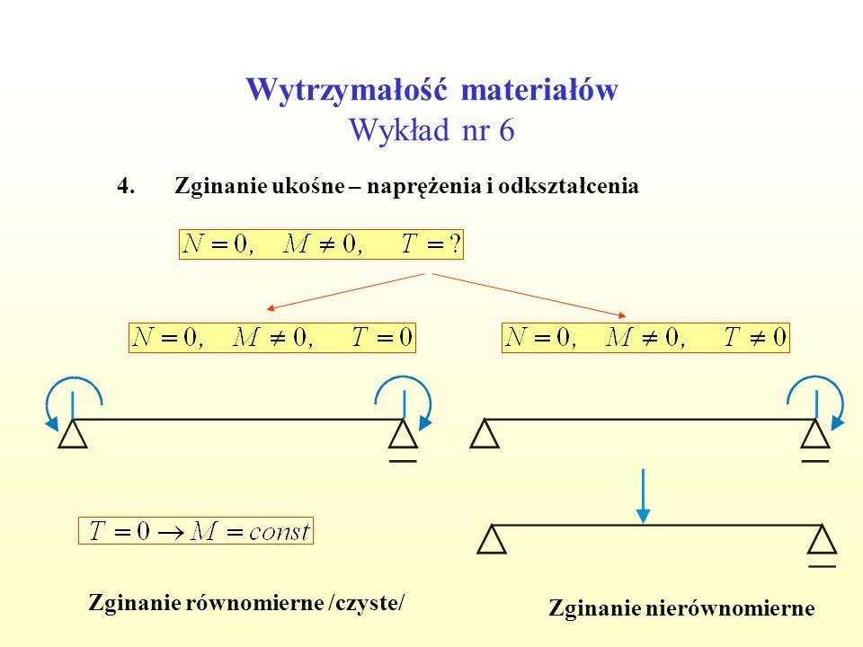 Wytrzymałość materiałów Wykład nr 6 4.Zginanie ukośne – naprężenia i odkształcenia Zginanie równomierne /czyste/ Zginanie nierównomierne