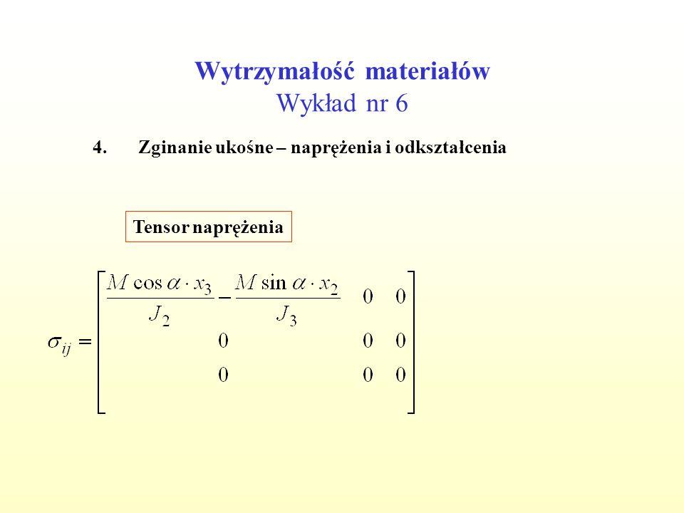Wytrzymałość materiałów Wykład nr 6 4.Zginanie ukośne – naprężenia i odkształcenia Tensor naprężenia