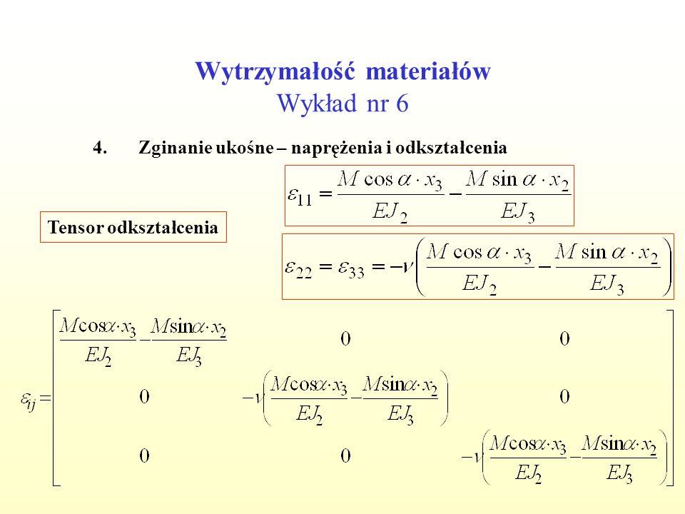 Wytrzymałość materiałów Wykład nr 6 4.Zginanie ukośne – naprężenia i odkształcenia Tensor odkształcenia
