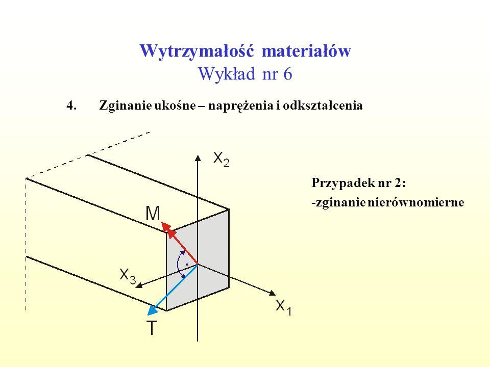 Wytrzymałość materiałów Wykład nr 6 4.Zginanie ukośne – naprężenia i odkształcenia Przypadek nr 2: -zginanie nierównomierne