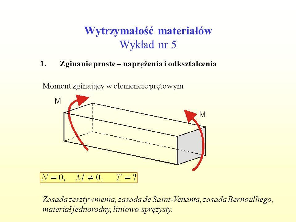 Wytrzymałość materiałów Wykład nr 5 1.Zginanie proste – naprężenia i odkształcenia Moment zginający w elemencie prętowym Zasada zesztywnienia, zasada