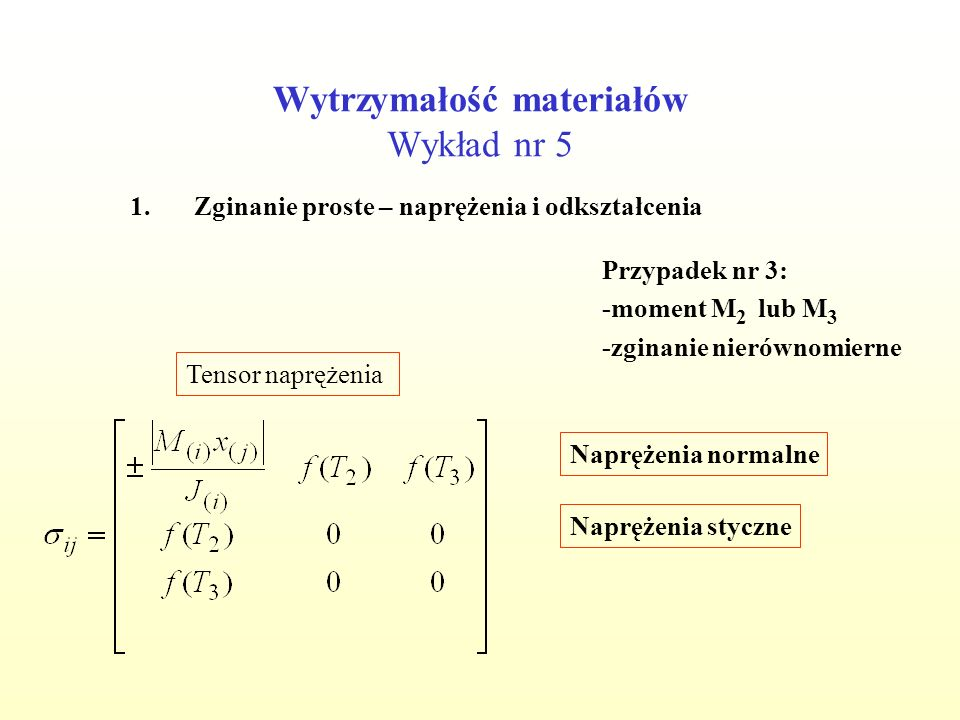 Wytrzymałość materiałów Wykład nr 5 1.Zginanie proste – naprężenia i odkształcenia Przypadek nr 3: -moment M 2 lub M 3 -zginanie nierównomierne Tensor odkształcenia