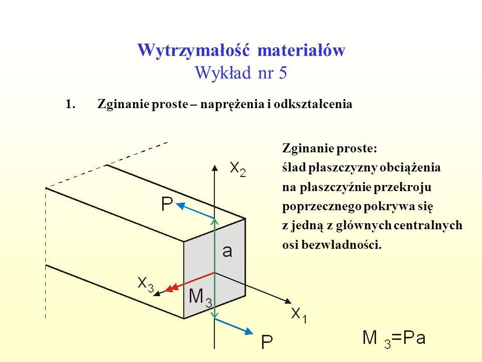 Wytrzymałość materiałów Wykład nr 5 1.Zginanie proste – naprężenia i odkształcenia Przypadek nr 1: -moment M 3 -zginanie równomierne