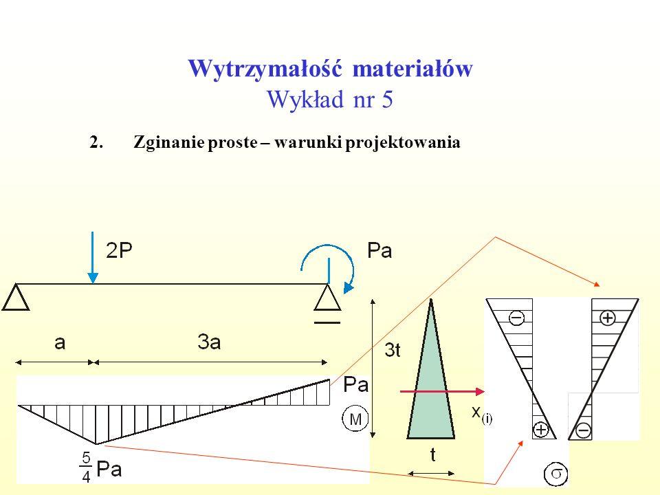 Wytrzymałość materiałów Wykład nr 5 2.Zginanie proste – warunki projektowania 1. 2. 1.