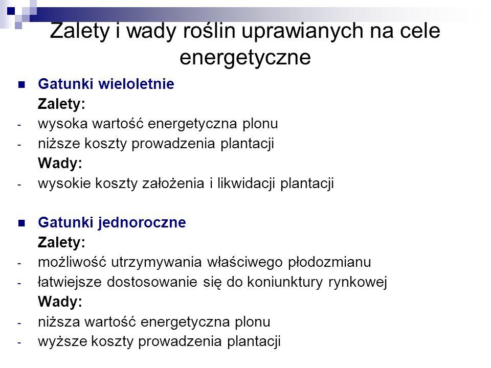 Zalety i wady roślin uprawianych na cele energetyczne Gatunki wieloletnie Zalety: - wysoka wartość energetyczna plonu - niższe koszty prowadzenia plantacji Wady: - wysokie koszty założenia i likwidacji plantacji Gatunki jednoroczne Zalety: - możliwość utrzymywania właściwego płodozmianu - łatwiejsze dostosowanie się do koniunktury rynkowej Wady: - niższa wartość energetyczna plonu - wyższe koszty prowadzenia plantacji