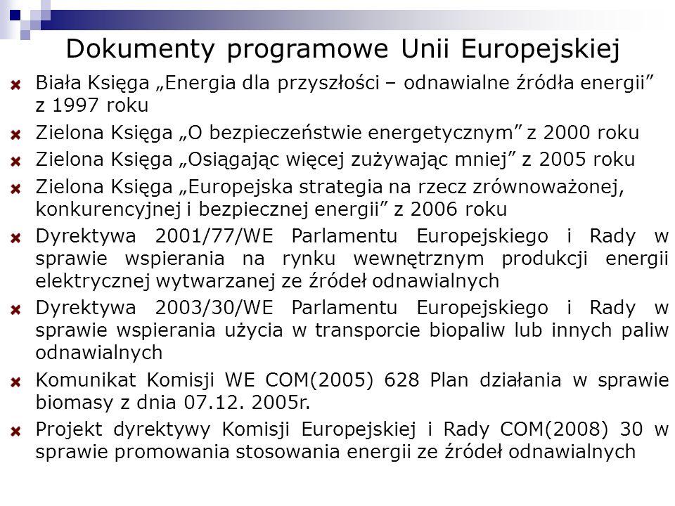 Dokumenty programowe Unii Europejskiej Biała Księga Energia dla przyszłości – odnawialne źródła energii z 1997 roku Zielona Księga O bezpieczeństwie energetycznym z 2000 roku Zielona Księga Osiągając więcej zużywając mniej z 2005 roku Zielona Księga Europejska strategia na rzecz zrównoważonej, konkurencyjnej i bezpiecznej energii z 2006 roku Dyrektywa 2001/77/WE Parlamentu Europejskiego i Rady w sprawie wspierania na rynku wewnętrznym produkcji energii elektrycznej wytwarzanej ze źródeł odnawialnych Dyrektywa 2003/30/WE Parlamentu Europejskiego i Rady w sprawie wspierania użycia w transporcie biopaliw lub innych paliw odnawialnych Komunikat Komisji WE COM(2005) 628 Plan działania w sprawie biomasy z dnia 07.12.