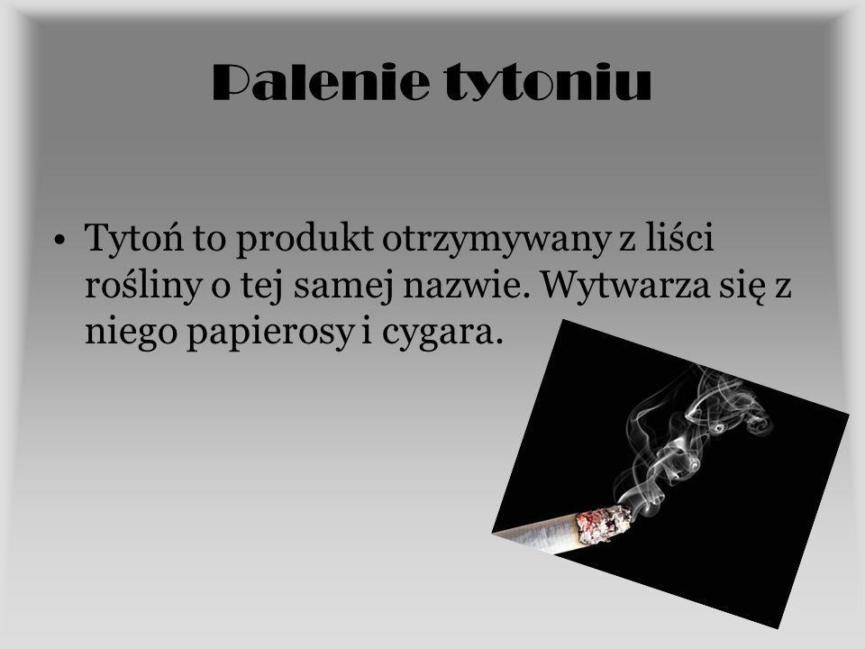 Palenie tytoniu Tytoń to produkt otrzymywany z liści rośliny o tej samej nazwie. Wytwarza się z niego papierosy i cygara.