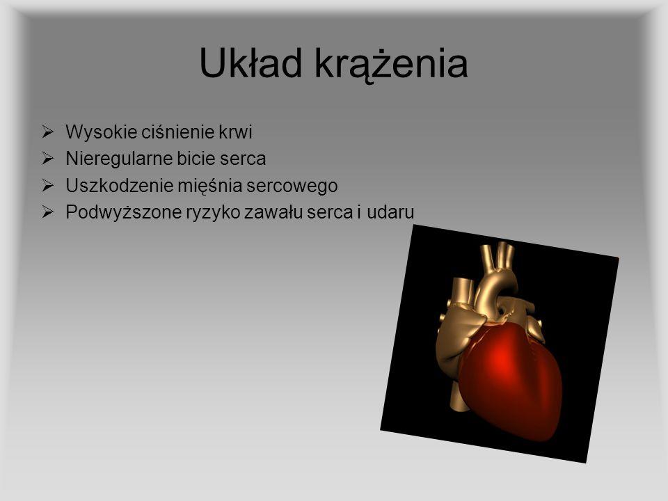 Układ krążenia Wysokie ciśnienie krwi Nieregularne bicie serca Uszkodzenie mięśnia sercowego Podwyższone ryzyko zawału serca i udaru