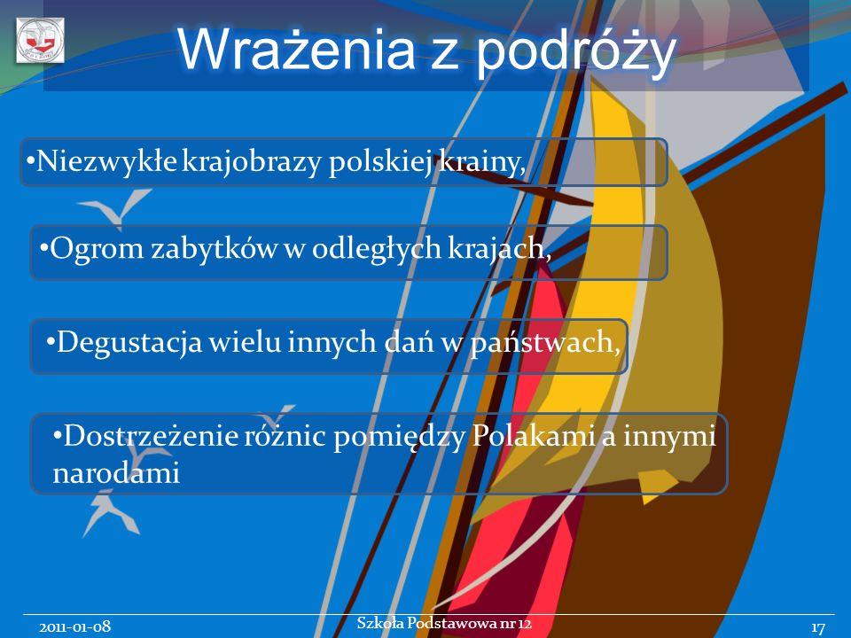 2011-01-08 Szkoła Podstawowa nr 12 17 Niezwykłe krajobrazy polskiej krainy, Ogrom zabytków w odległych krajach, Degustacja wielu innych dań w państwach, Dostrzeżenie różnic pomiędzy Polakami a innymi narodami