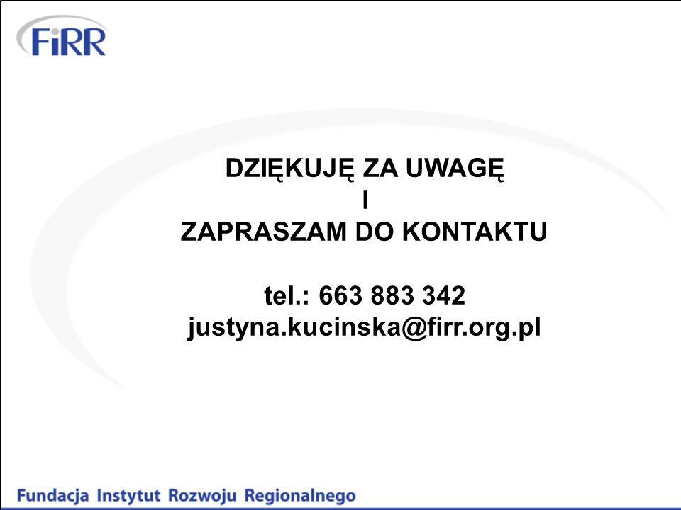 DZIĘKUJĘ ZA UWAGĘ I ZAPRASZAM DO KONTAKTU tel.: 663 883 342 justyna.kucinska@firr.org.pl
