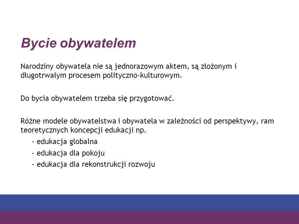 Bycie obywatelem Narodziny obywatela nie są jednorazowym aktem, są złożonym i długotrwałym procesem polityczno-kulturowym.