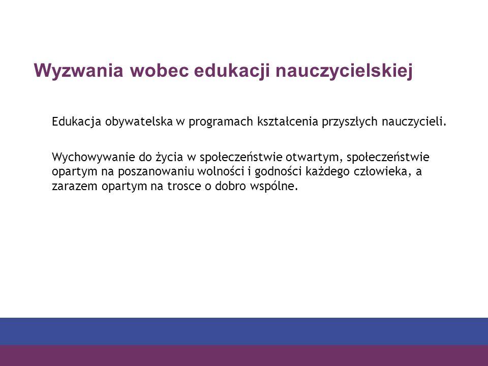 Wyzwania wobec edukacji nauczycielskiej Edukacja obywatelska w programach kształcenia przyszłych nauczycieli.
