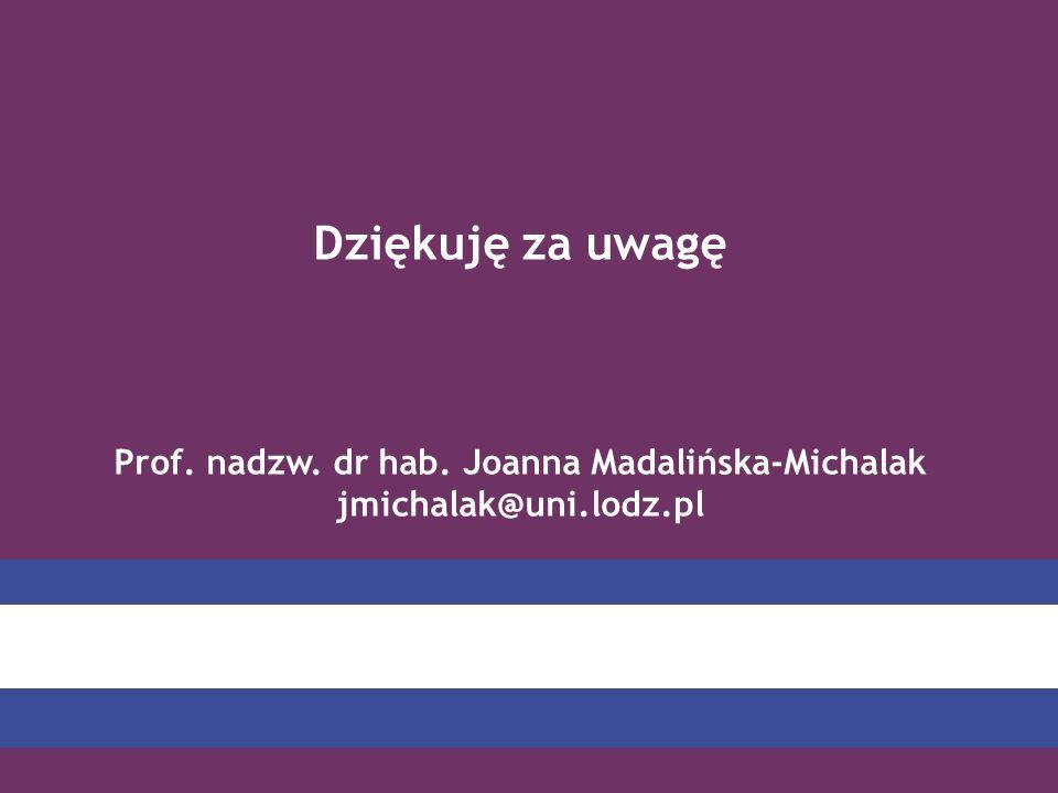 Dziękuję za uwagę Prof. nadzw. dr hab. Joanna Madalińska-Michalak jmichalak@uni.lodz.pl