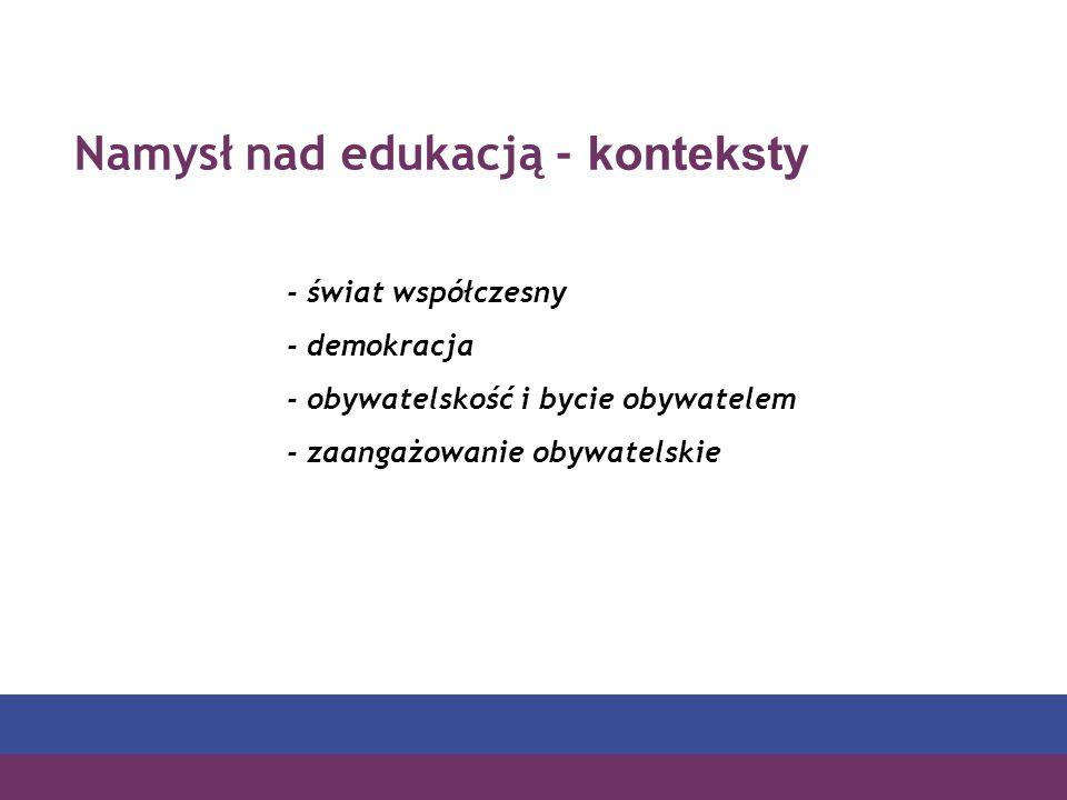 Namysł nad edukacją - konteksty - świat współczesny - demokracja - obywatelskość i bycie obywatelem - zaangażowanie obywatelskie