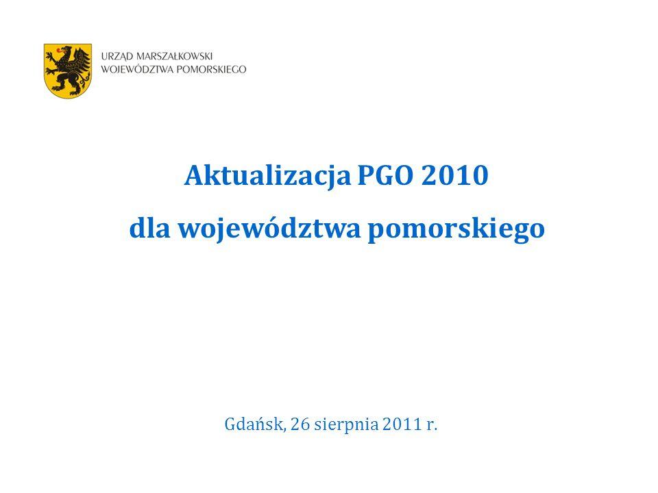Gdańsk, 26 sierpnia 2011 r. Aktualizacja PGO 2010 dla województwa pomorskiego