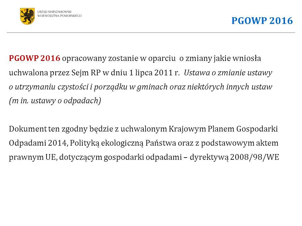 PGOWP 2016 PGOWP 2016 opracowany zostanie w oparciu o zmiany jakie wniosła uchwalona przez Sejm RP w dniu 1 lipca 2011 r.