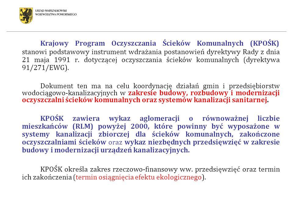 Krajowy Program Oczyszczania Ścieków Komunalnych (KPOŚK) stanowi podstawowy instrument wdrażania postanowień dyrektywy Rady z dnia 21 maja 1991 r. dot