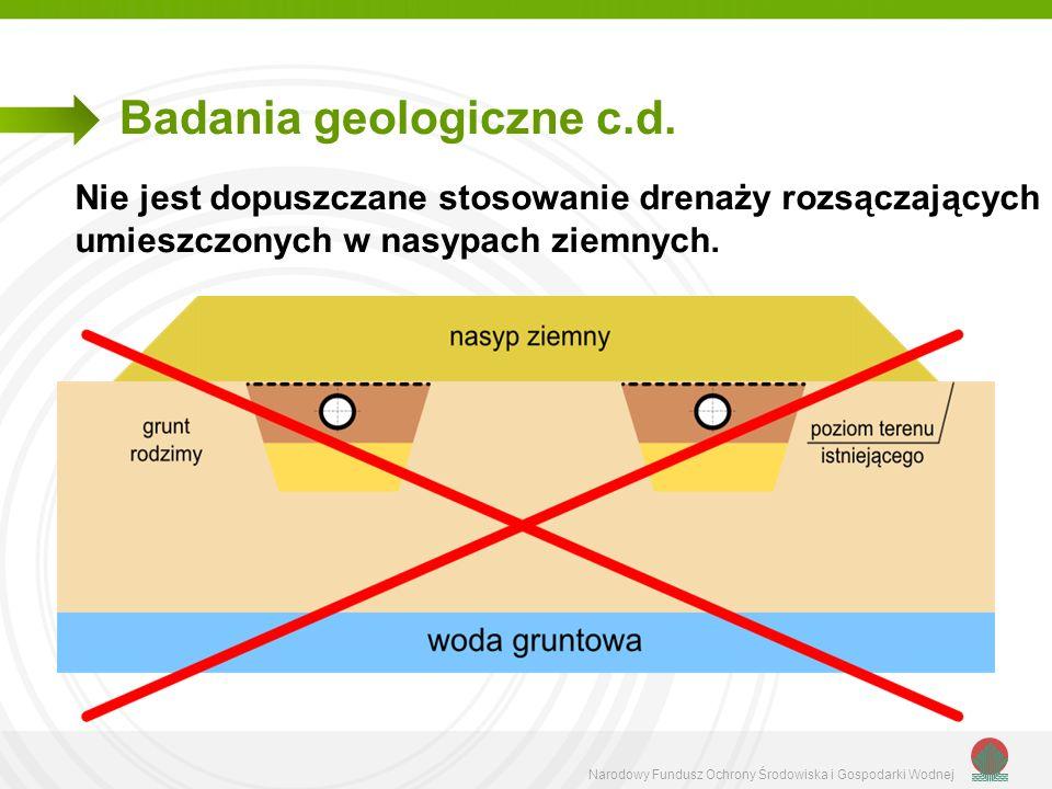 Narodowy Fundusz Ochrony Środowiska i Gospodarki Wodnej Badania geologiczne c.d. Nie jest dopuszczane stosowanie drenaży rozsączających umieszczonych