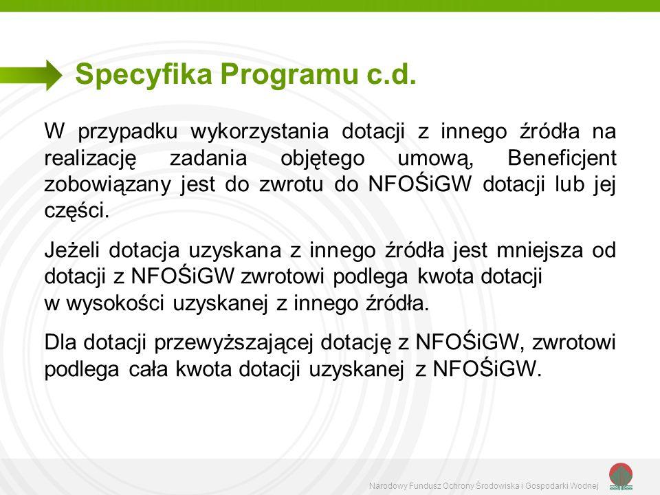 Narodowy Fundusz Ochrony Środowiska i Gospodarki Wodnej Specyfika Programu c.d. W przypadku wykorzystania dotacji z innego źródła na realizację zadani