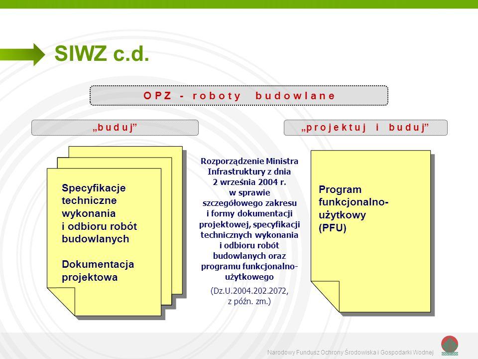 Narodowy Fundusz Ochrony Środowiska i Gospodarki Wodnej SIWZ c.d. O P Z - r o b o t y b u d o w l a n e b u d u jp r o j e k t u j i b u d u j Program