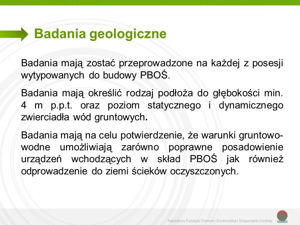 Narodowy Fundusz Ochrony Środowiska i Gospodarki Wodnej Badania geologiczne Badania mają zostać przeprowadzone na każdej z posesji wytypowanych do bud