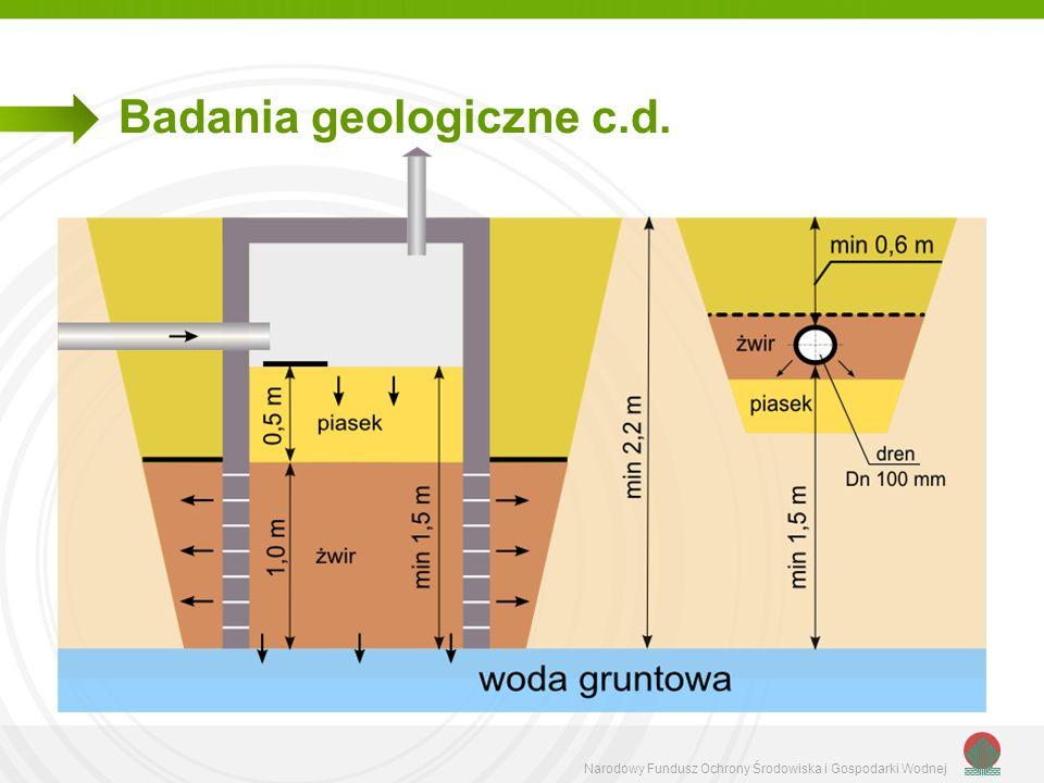 Narodowy Fundusz Ochrony Środowiska i Gospodarki Wodnej Badania geologiczne c.d.