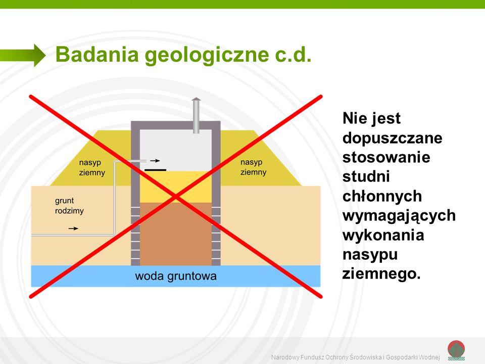 Narodowy Fundusz Ochrony Środowiska i Gospodarki Wodnej Badania geologiczne c.d. Nie jest dopuszczane stosowanie studni chłonnych wymagających wykonan