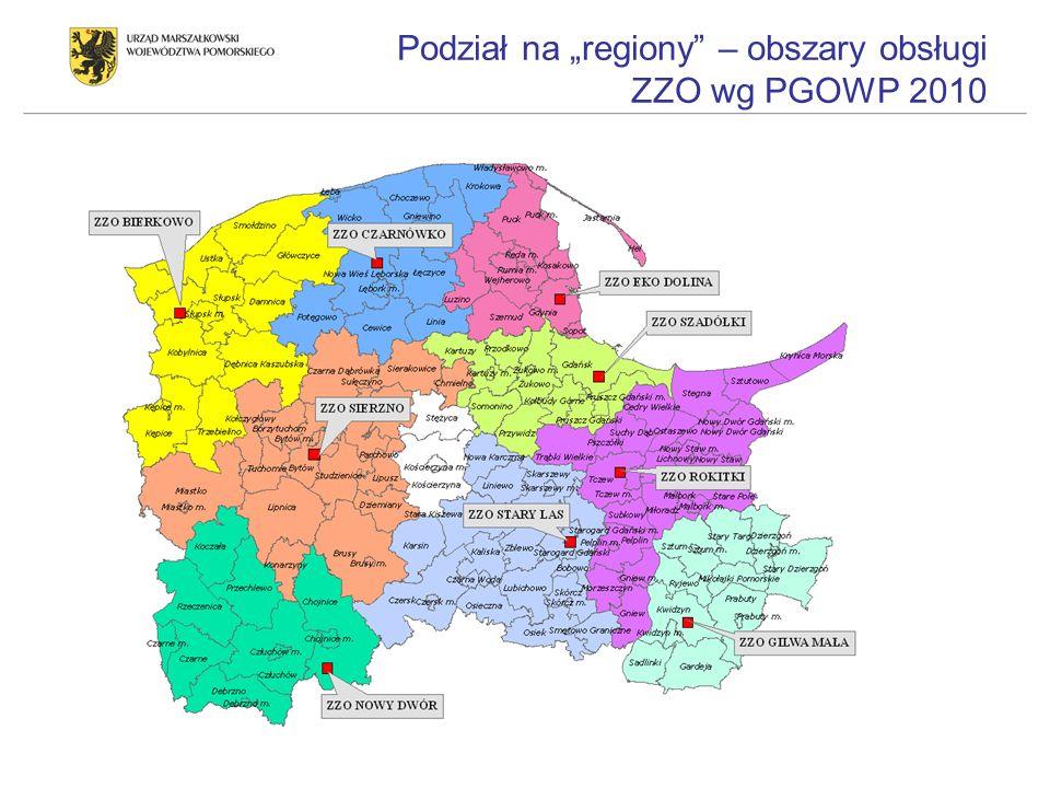 Podział na regiony – obszary obsługi ZZO wg PGOWP 2010
