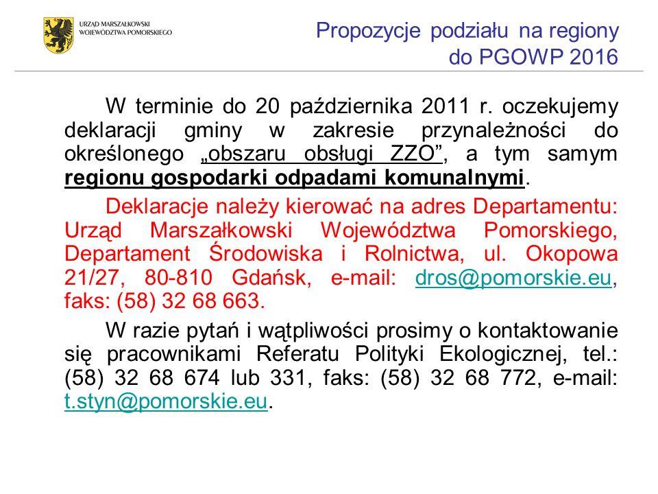 Propozycje podziału na regiony do PGOWP 2016 W terminie do 20 października 2011 r. oczekujemy deklaracji gminy w zakresie przynależności do określoneg