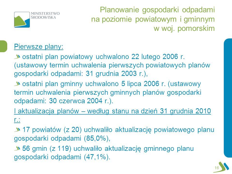 Planowanie gospodarki odpadami na poziomie powiatowym i gminnym w woj. pomorskim Pierwsze plany: ostatni plan powiatowy uchwalono 22 lutego 2006 r. (u