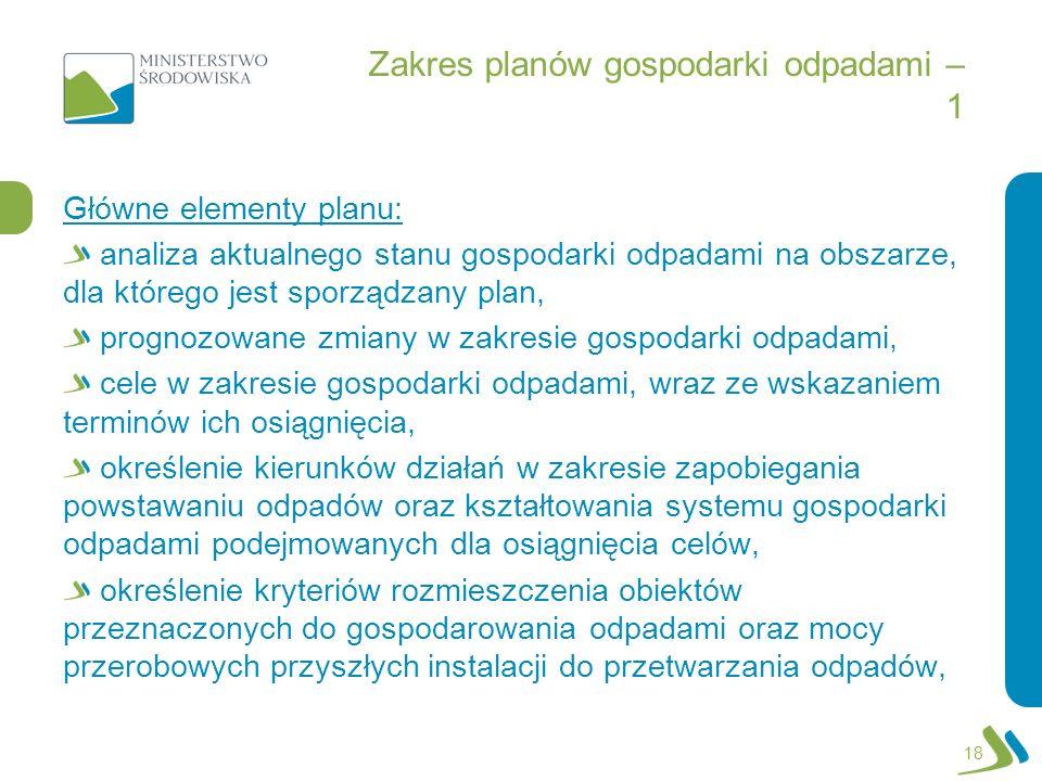 Zakres planów gospodarki odpadami – 1 Główne elementy planu: analiza aktualnego stanu gospodarki odpadami na obszarze, dla którego jest sporządzany pl