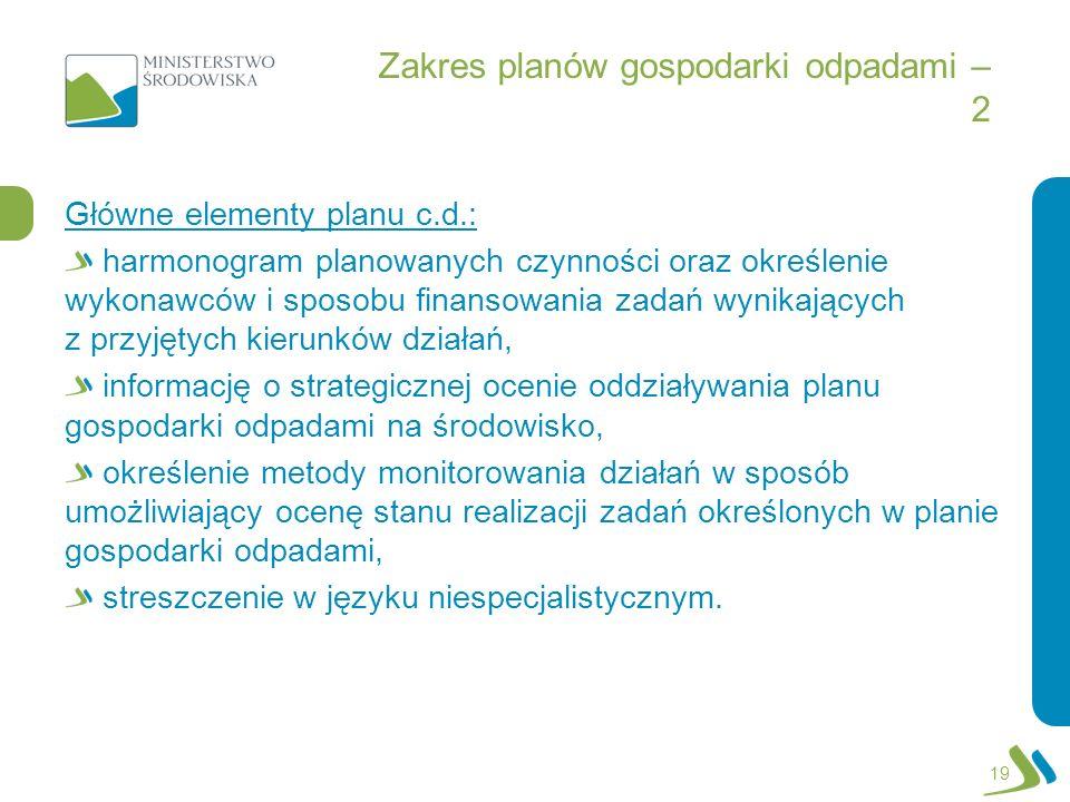 Zakres planów gospodarki odpadami – 2 Główne elementy planu c.d.: harmonogram planowanych czynności oraz określenie wykonawców i sposobu finansowania