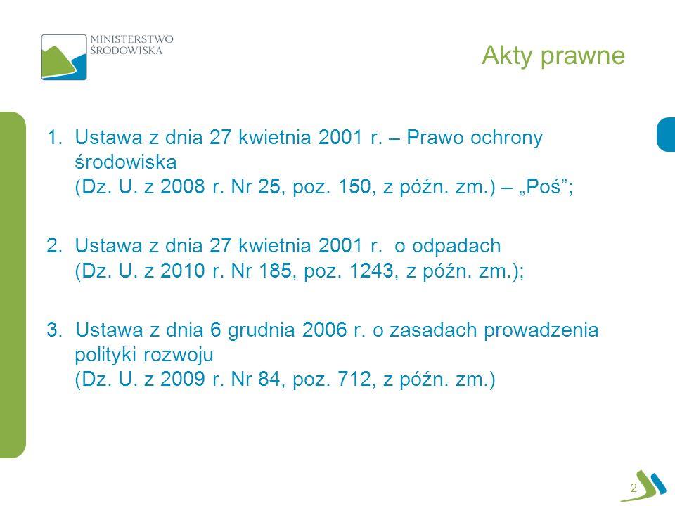 Akty prawne 2 1.Ustawa z dnia 27 kwietnia 2001 r. – Prawo ochrony środowiska (Dz. U. z 2008 r. Nr 25, poz. 150, z późn. zm.) – Poś; 2.Ustawa z dnia 27