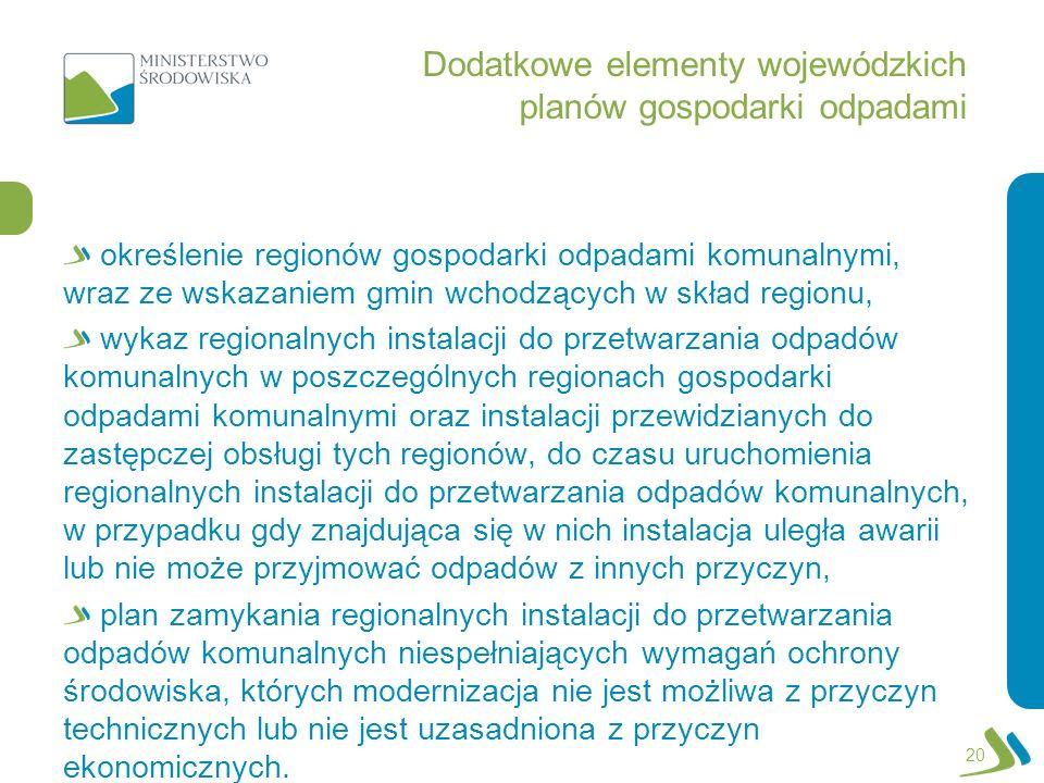 Dodatkowe elementy wojewódzkich planów gospodarki odpadami określenie regionów gospodarki odpadami komunalnymi, wraz ze wskazaniem gmin wchodzących w
